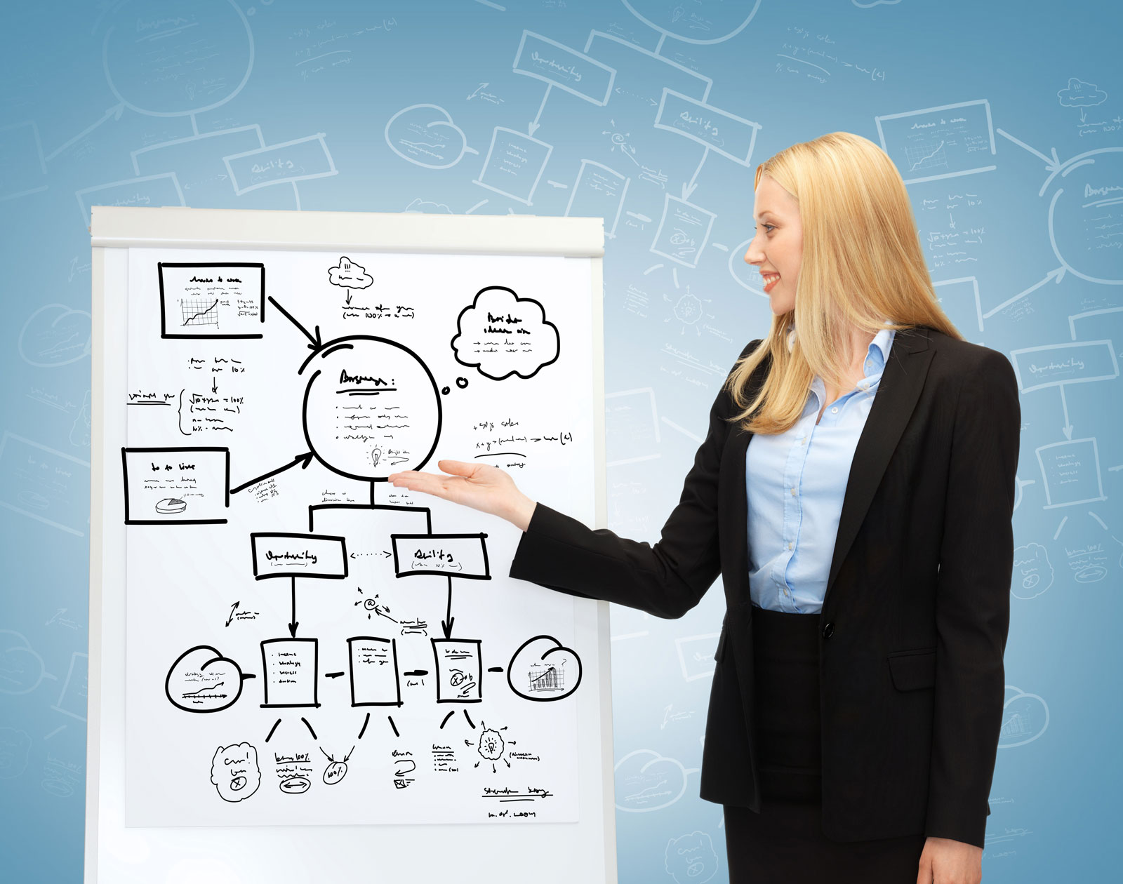 Woman Discussing a Graph | 5 Annual Content Marketing Conferences Worth Your While
