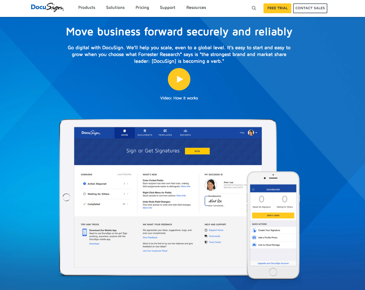 DocuSign | 14 Examples Of Beautiful, Easy-To-Shop Ecommerce Websites