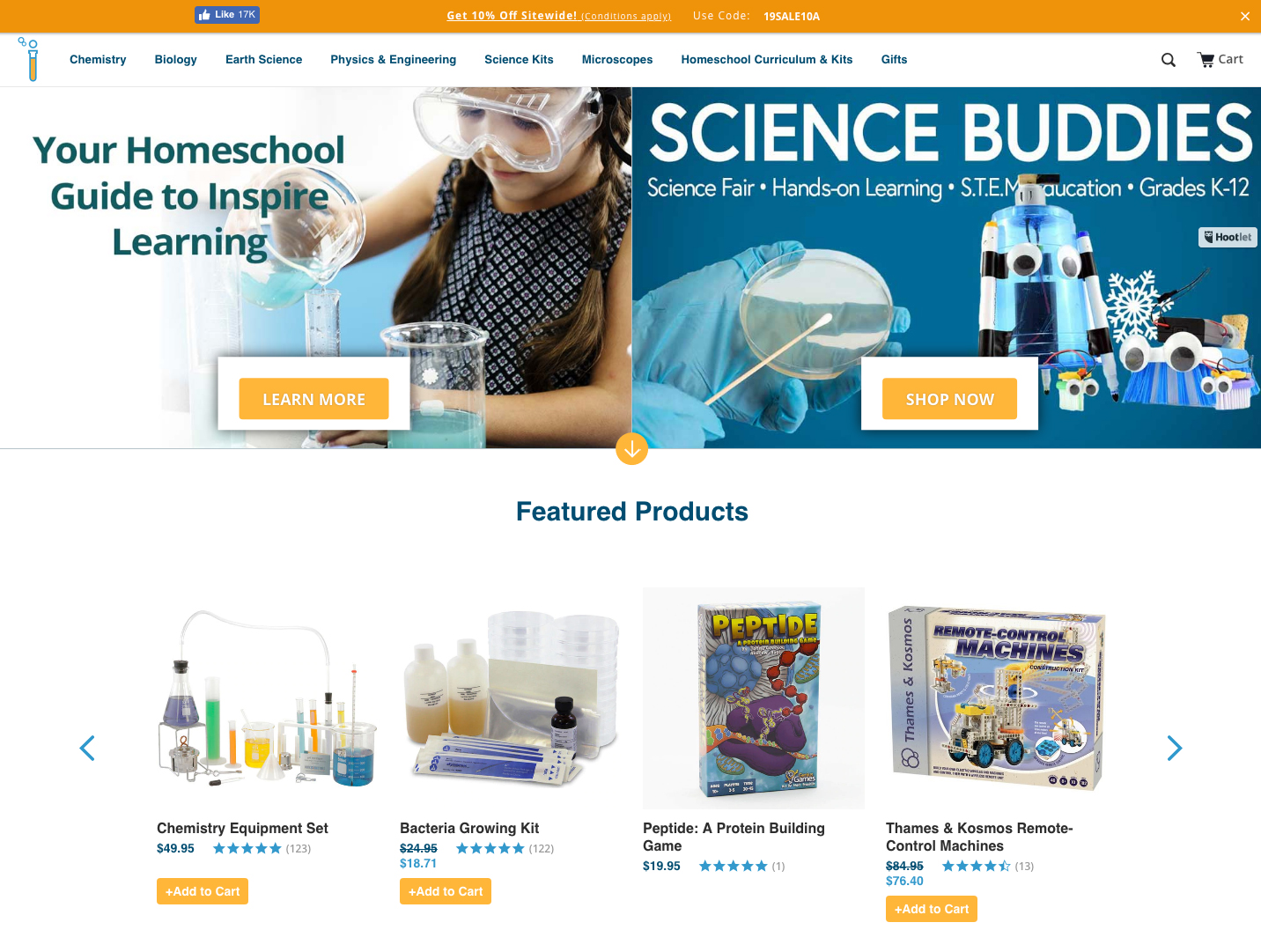 Home Science Tools | 14 Examples Of Beautiful, Easy-To-Shop Ecommerce Websites