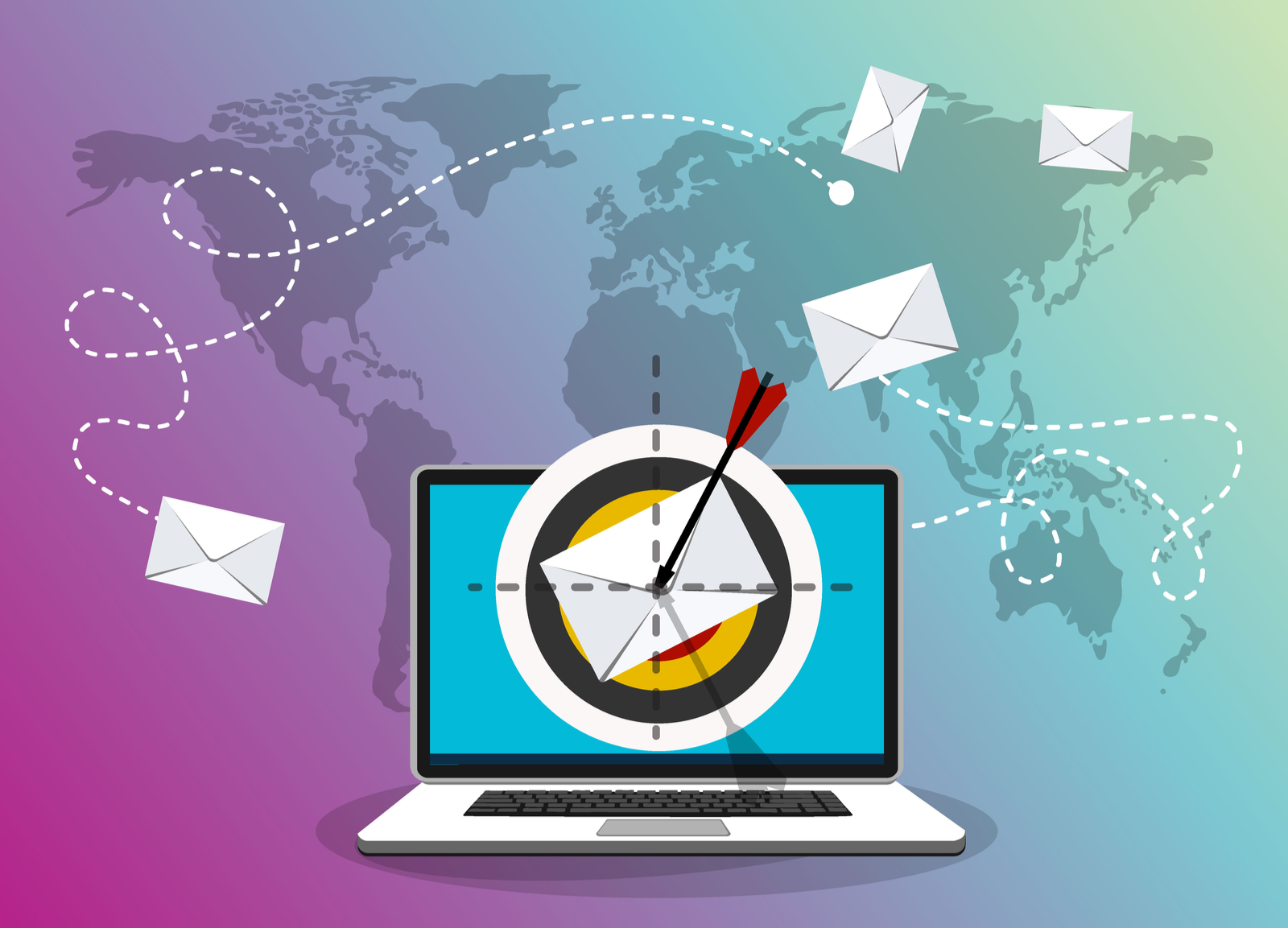 Computer with Envelope and Arrow | How To Pick An Email Marketing Service That's Right For You